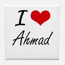I Love Ahmad Tile Coaster