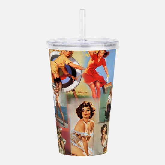 Pin up Collage Acrylic Double-wall Tumbler