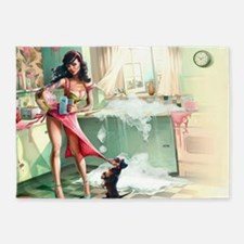 Pin up Girl In Kitchen 5'x7'Area Rug