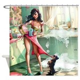 69x70 pin up girl in kitchen Shower Curtains
