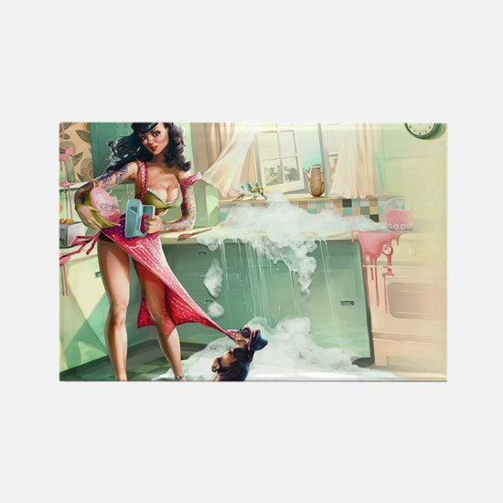 Pin up Girl In Kitchen Magnets