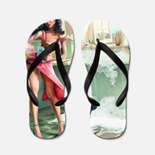 Pin up Girl In Kitchen Flip Flops