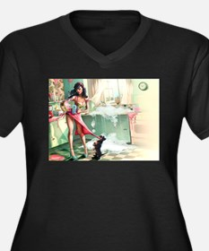 Pin up Girl In Kitchen Plus Size T-Shirt
