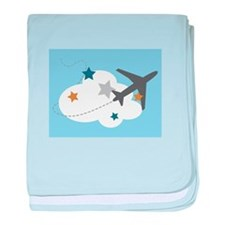 Airplane In Clouds  baby blanket