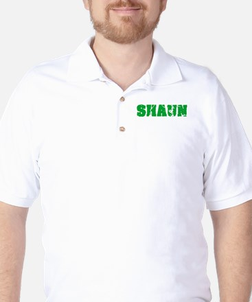 Shaun Name Weathered Green Design Golf Shirt