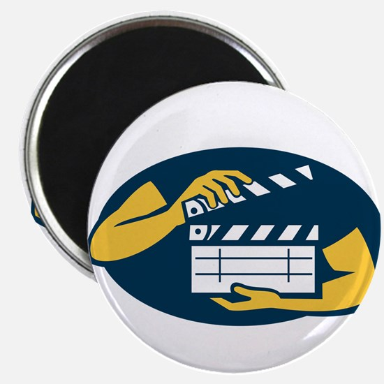 Hand Holding Movie Clapboard Oval Retro Magnets