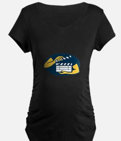 Hand Holding Movie Clapboard Oval Retro T-Shirt