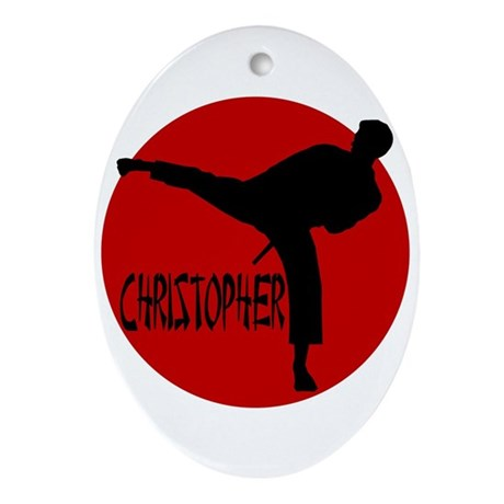 Christopher Martial Arts Oval Ornament