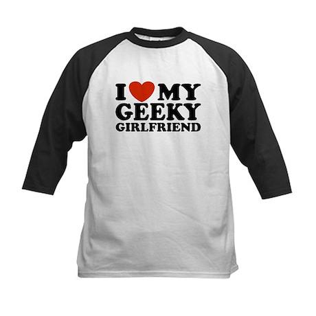I Love My Geeky Girlfriend Kids Baseball Jersey