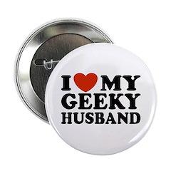 I Love My Geeky Husband Button
