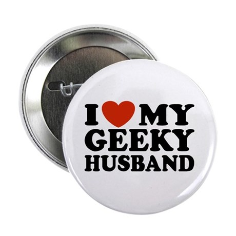 I Love My Geeky Husband Button