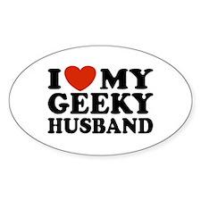I Love My Geeky Husband Oval Decal