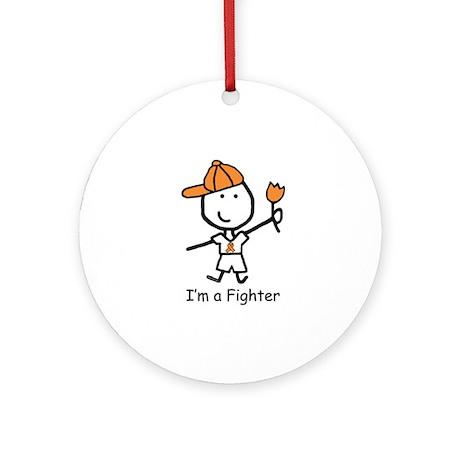 Orange Ribbon - Fighter Boy Ornament (Round)
