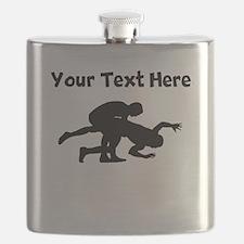 Wrestling Silhouette Flask