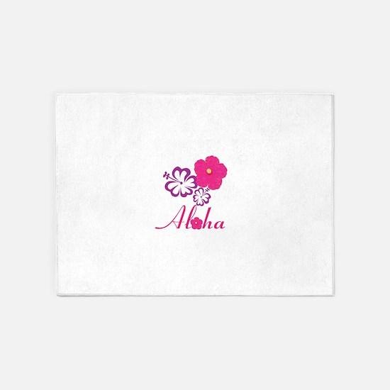 Pink Hibiscus Aloha 5'x7'Area Rug