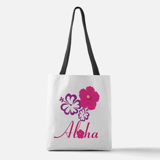 Pink Hibiscus Aloha Polyester Tote Bag