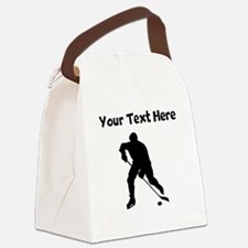 Hockey Player Silhouette Canvas Lunch Bag