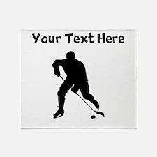 Hockey Player Silhouette Throw Blanket