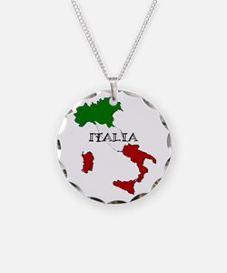 Italy Flag Map Necklace
