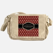 Black and Red Pattern Personalized Messenger Bag