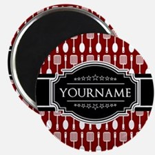 Black and Red Pattern Personalized Magnet