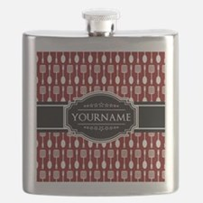 Black and Red Pattern Personalized Flask