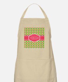 Personalized Green, Pink Flowers Apron