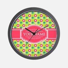 Personalized Green, Pink Flowers Wall Clock