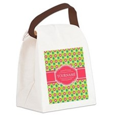 Personalized Green, Pink Flowers Canvas Lunch Bag