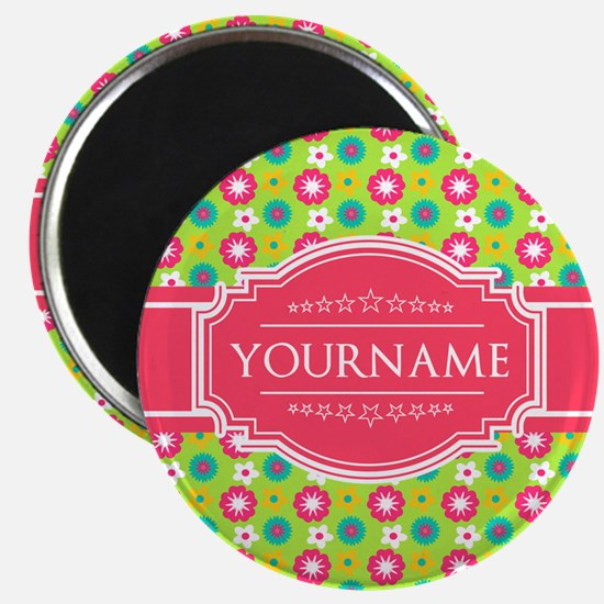 Personalized Green, Pink Flowers Magnet