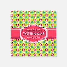 "Personalized Green, Pink Fl Square Sticker 3"" x 3"""
