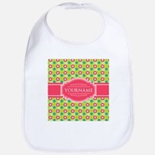 Personalized Green, Pink Flowers Bib
