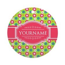 Personalized Green, Pink Flowers Round Ornament