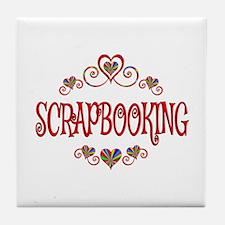 Scrapbooking Hearts Tile Coaster