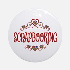 Scrapbooking Hearts Round Ornament