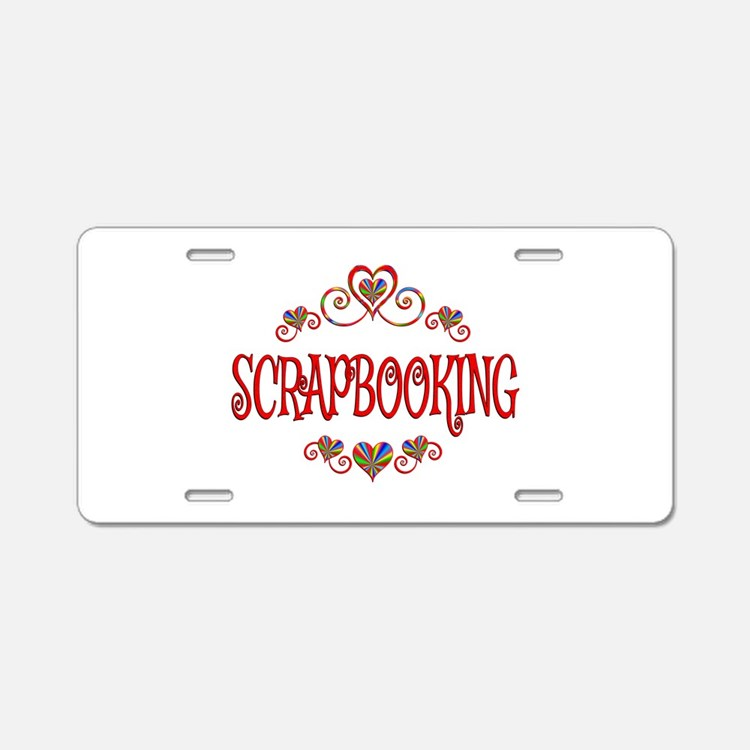 Scrapbooking Hearts Aluminum License Plate