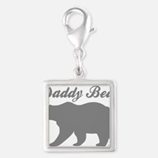 Daddy Bear Silver Square Charm