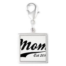 Mom Est 2015 Silver Square Charm