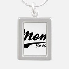 Mom Est 2015 Silver Portrait Necklace