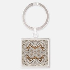 girly hipster vintage white lace  Square Keychain
