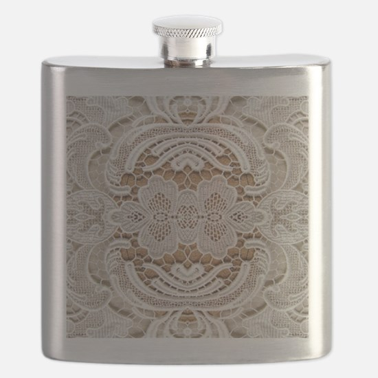 girly hipster vintage white lace  Flask