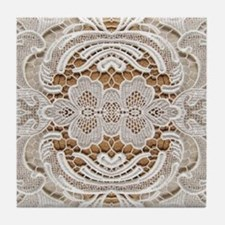girly hipster vintage white lace  Tile Coaster