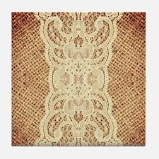 shabby chic burlap lace Tile Coaster