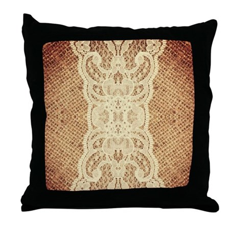 Shabby Chic Burlap Pillows : shabby chic burlap lace Throw Pillow by listing-store-62325139
