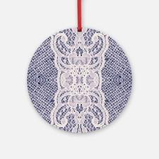 shabby chic burlap lace Round Ornament