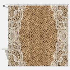 shabby chic burlap lace Shower Curtain