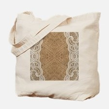 shabby chic burlap lace Tote Bag