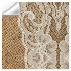 shabby chic burlap lace Wall Decal