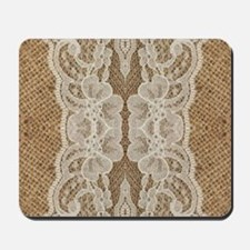 shabby chic burlap lace Mousepad
