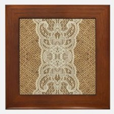 shabby chic burlap lace Framed Tile